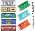 tickets in different styles - stock vector