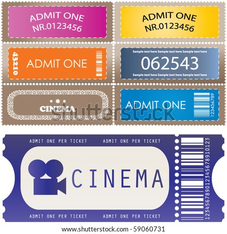 Tickets in different styles - vector - stock vector