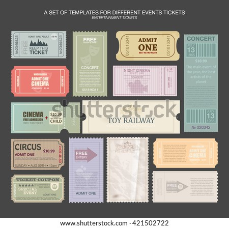 tickets in different styles. Vector illustration. Collection vintage tickets and Coupons.tickets for various events: festival, cinema, circus, theater, attractions. Entry tickets. - stock vector