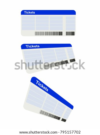 Tickets on white background