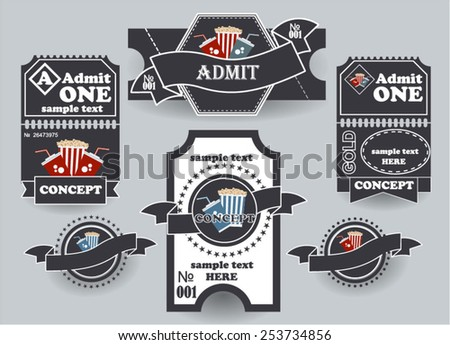 Tickets Vectors. Tickets are issued in black color - stock vector