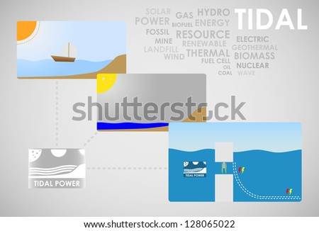 tidal energy - stock vector