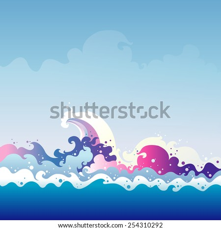 Tidal Wave vector graphic illustration - stock vector