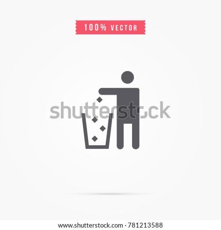 Tidy man icon trash symbol