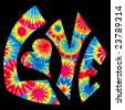 Tie Dyed Love Symbol - stock photo