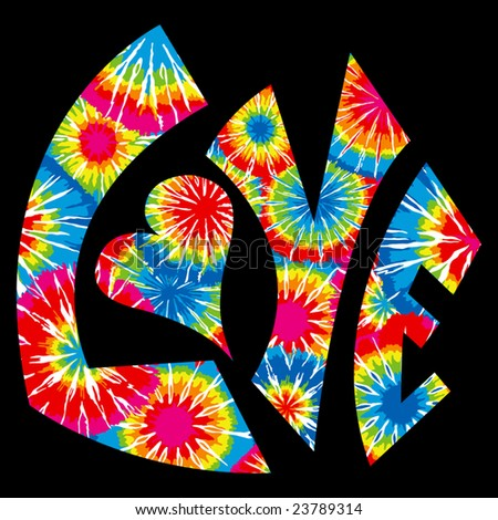 Tie Dyed Love Symbol - stock vector