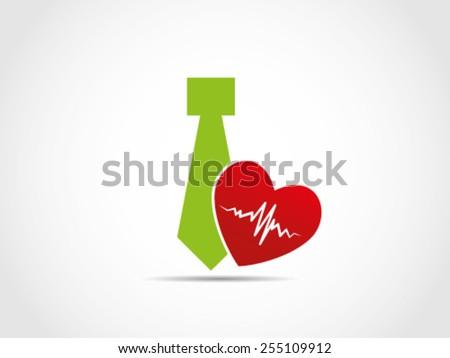 Tie Heart Health Care Insurance Employee Workers - stock vector