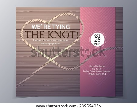Tie the knot on wood background concept wedding invitation card vector