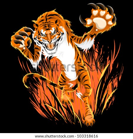 Tiger Ambush - stock vector