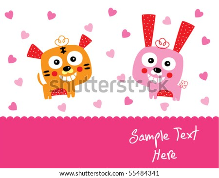 tiger and bunny couple love - stock vector