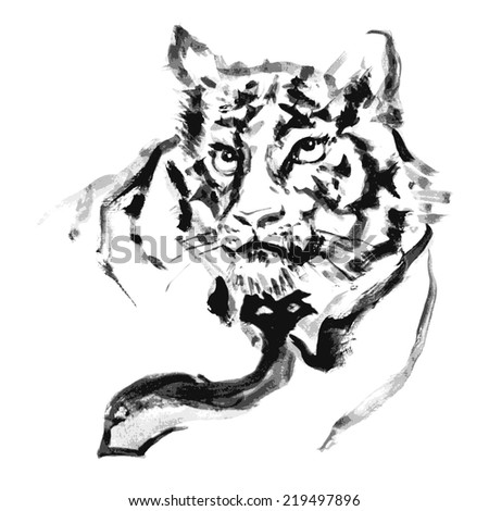 Tiger and ties paint.vector - stock vector
