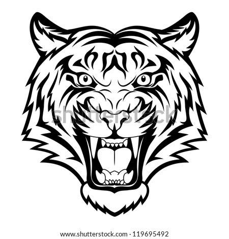 Tiger anger. Black tattoo. Vector illustration of a tiger head. - stock vector