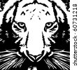 Tiger black& white vector - stock vector