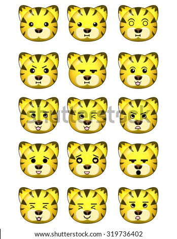 Tiger Emoticons Set Different Expressions - stock vector