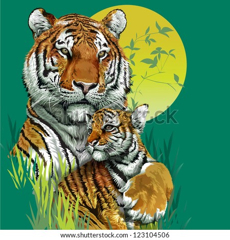 Tiger family in jungle. Vector illustration - stock vector