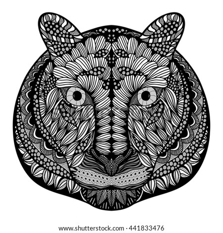 Tiger head. Adult antistress coloring page. Black white hand drawn doodle animal. Ethnic patterned vector. African, indian, totem tribal, zentangle design. Sketch for tattoo, poster, print, t-shirt - stock vector