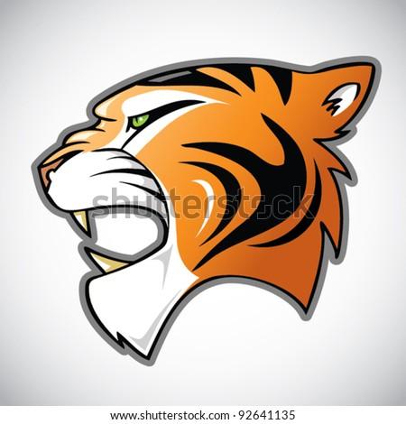 tiger head - cartoon illustration - stock vector