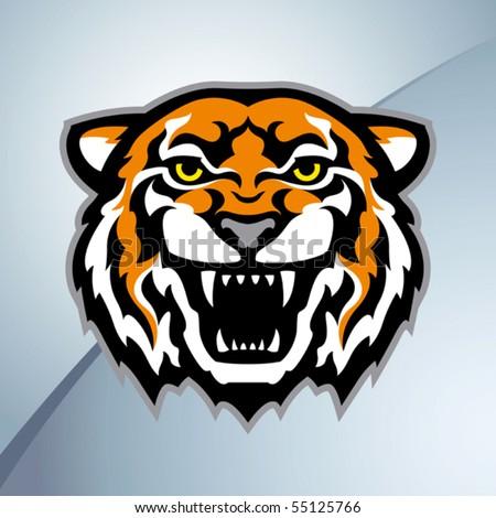 Tiger head mascot. Vector - stock vector