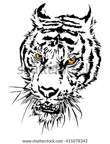 Tiger head silhouette and colorful with eye, illustration design. - stock vector
