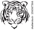 Tiger head silhouette, Vector - stock photo