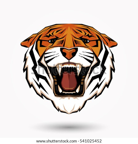 Tiger Head Symbol Design On White Stock Vector 541025452 Shutterstock