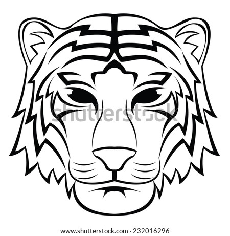 Tiger Head Tattoo - stock vector