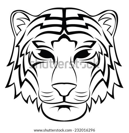 Tiger Head Tattoo - stock vector