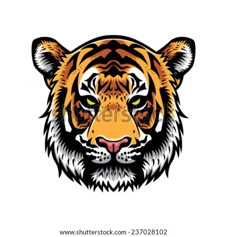 tiger head vector graphic illustration with color - stock vector