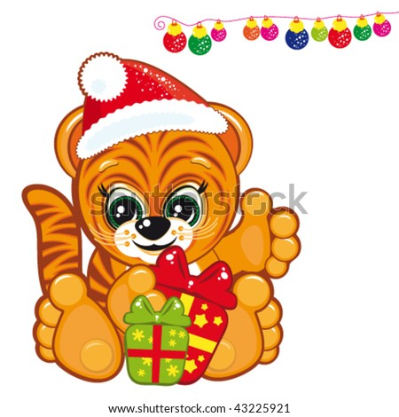 Tiger in the Santa hat with presents