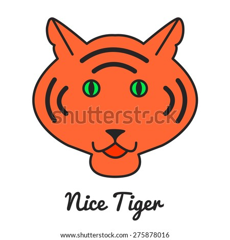 Tiger logo or icon in vector, color illustration, vector wild cat - stock vector