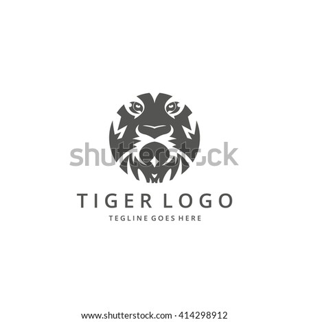Tiger logo. Tiger head. Logo template suitable for businesses and product names. Easy to edit, change size, color and text.  - stock vector
