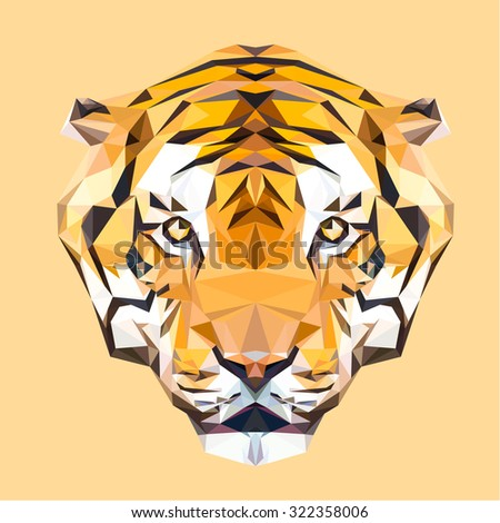 Tiger low poly design. Triangle vector illustration. - stock vector