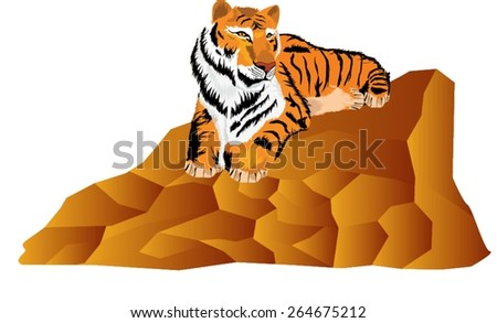 Tiger lying on stone - stock vector