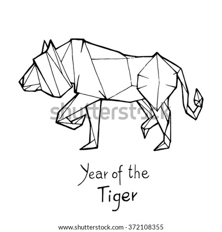 Tiger Origami Chinese Zodiac Hand Drawn Vector Illustration