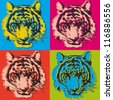 tiger pop art illustration - stock