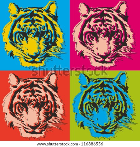 tiger pop art illustration - stock vector