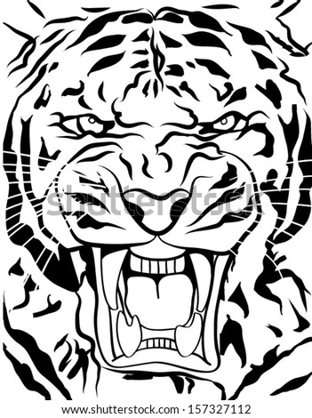 tiger roaring outline - stock vector