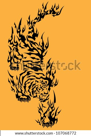 tiger's tattoo - stock vector