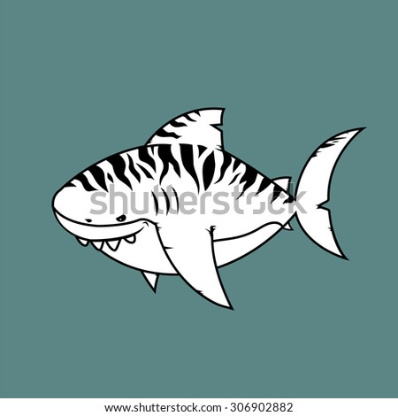 Tiger shark.Isolated cartoon character.coloring book version - stock vector