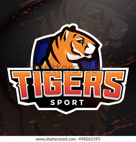 tiger shield sport mascot template football stock vector 498261595