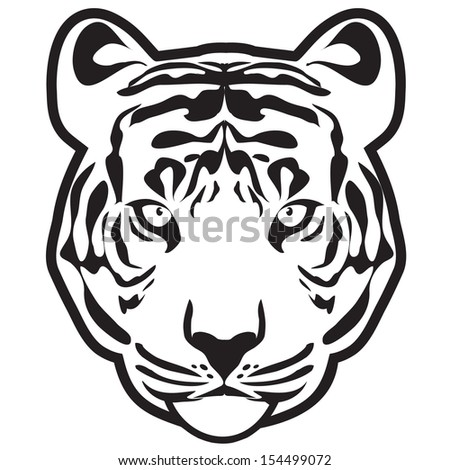 Tiger (tiger head outline vector) - stock vector