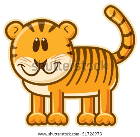 Tiger. Vector without gradient, great for printing. - stock vector