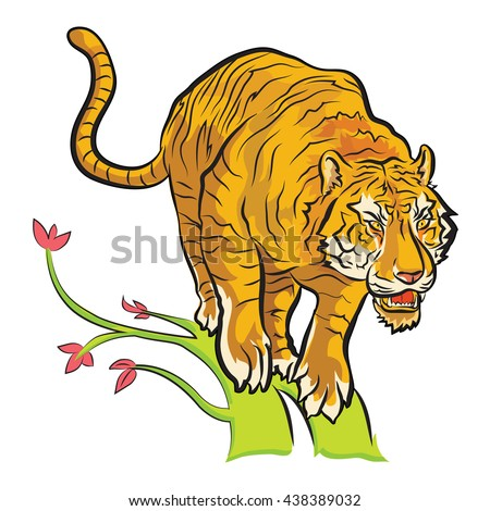tiger will jump from tree to find food colorful cartoon vector - stock vector