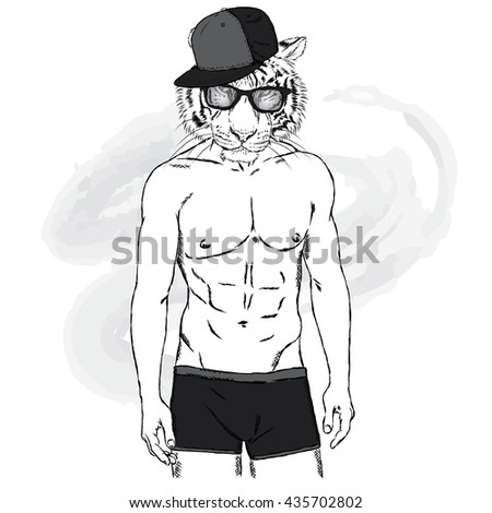 Tiger with a human body in swimming trunks. The man with a beautiful body. Vector  for greeting card, poster, or print on clothing and accessories. - stock vector