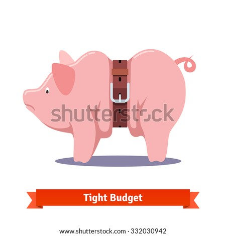 Tight budget and recession shrinking economy concept. Fat piggy bank squeezed by leather strap belt. Flat style vector illustration isolated on white background. - stock vector