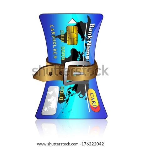 Tighten belt on credit card  - stock vector