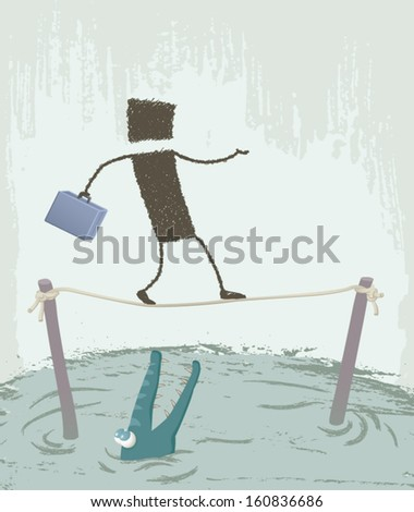 Tightrope Walker. A person walking on a wire. Below, we look at a crocodile hungry. EPS8 Illustration. - stock vector