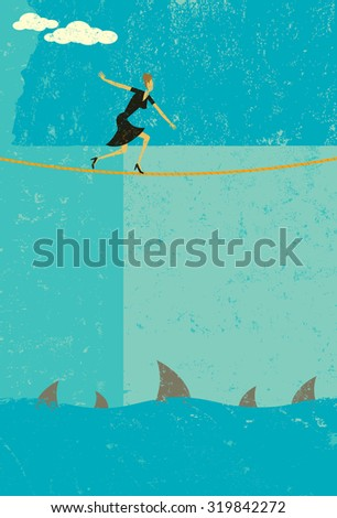 Tightrope walker. A retro businesswoman taking a big risk by walking a tightrope over sharks. The woman and rope and background are on separate labeled layers. - stock vector