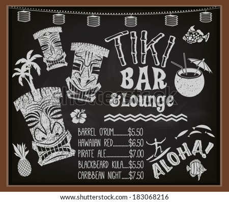 Tiki Bar and Lounge Chalkboard Cocktail Menu - Blackboard poster advertising Hawaiian tiki bar, with tiki gods, surfer, palm trees, coconut drink and the list of exotic Caribbean cocktails - stock vector