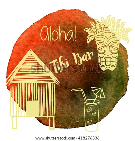 Tiki Bar. Carved Polynesian Tiki Totem Idol Mask. Cocktail with umbrella and cocktail straw. Aloha, Tiki Bar written on abstract hand painted watercolor blot. Orange vector template for woman t shirt. - stock vector